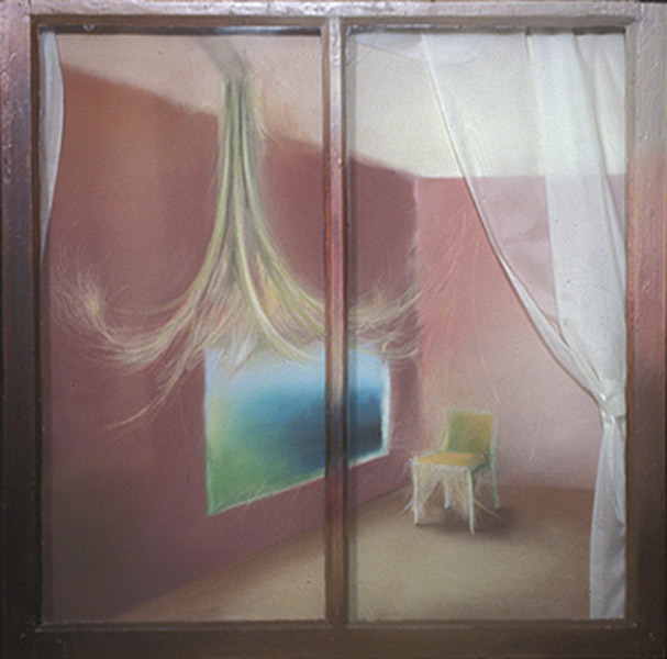 "FLORIDA ROOM pastel on paper, fabric behind a window, 30.5"" x 30.5"", 2005"